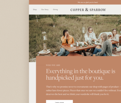 Copper & Sparrow homepage